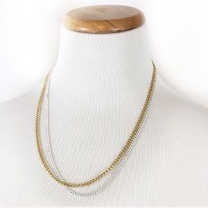 Francesca's | Gold and White Double Chain Necklace